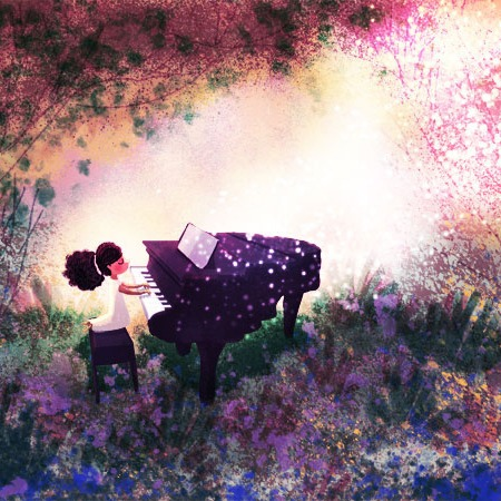 Girl playing piano outside illustration